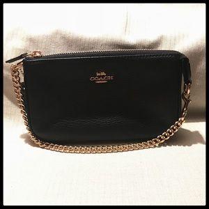 Coach Black Pebbled Leather Large Wristlet